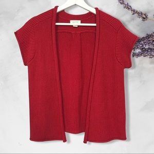Christopher & Banks red open knit cardigan M